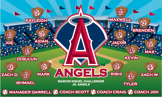 Angels (Large Logo & Gloves) Custom Vinyl Banner