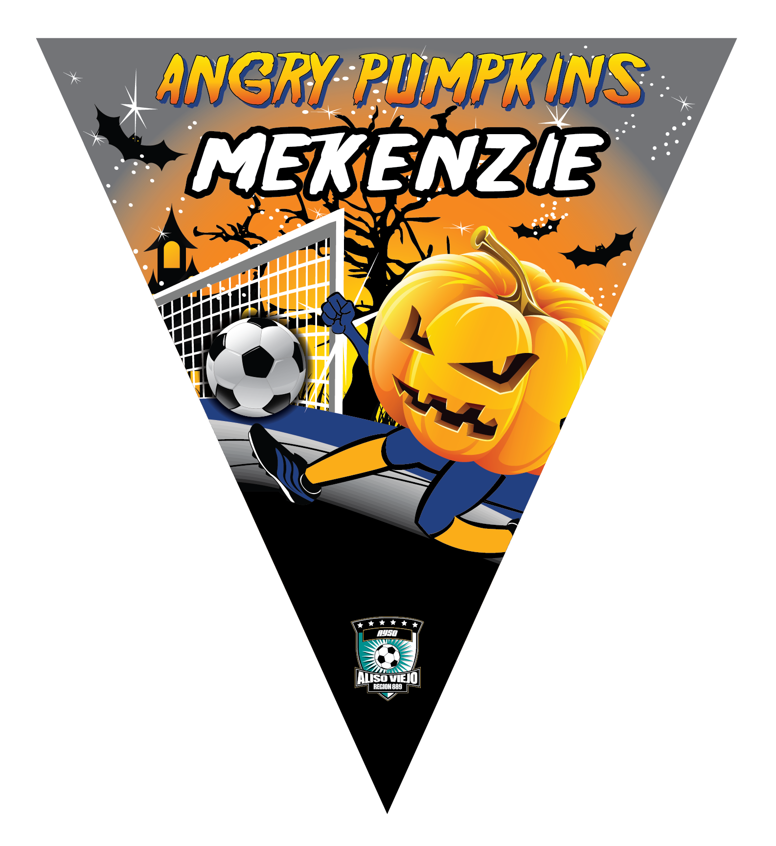 Angry Pumpkins Triangle Individual Team Pennant
