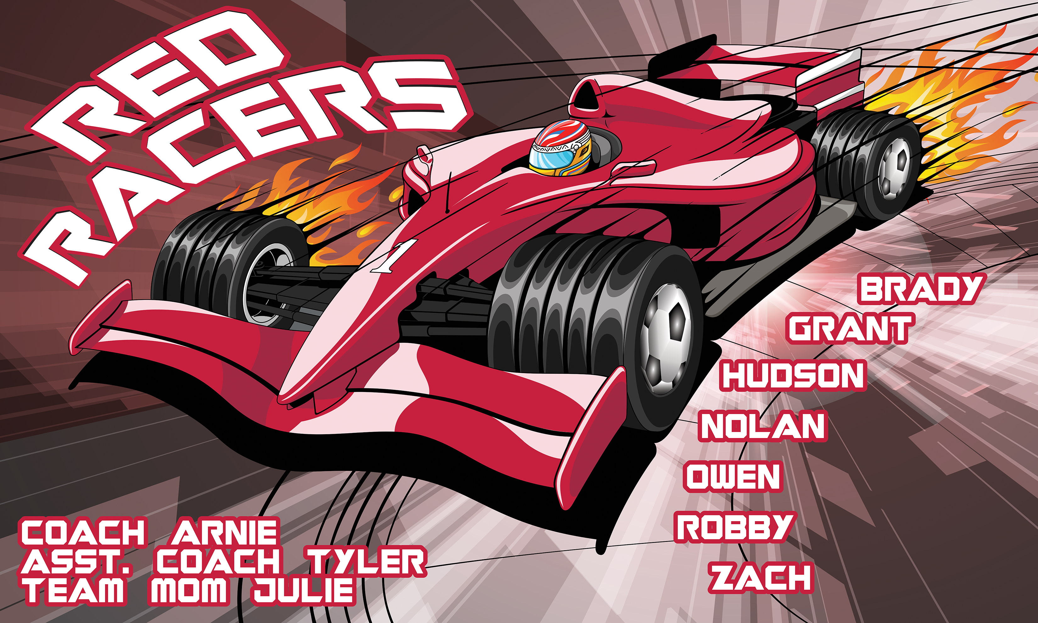 Red Racers Custom Vinyl Banner