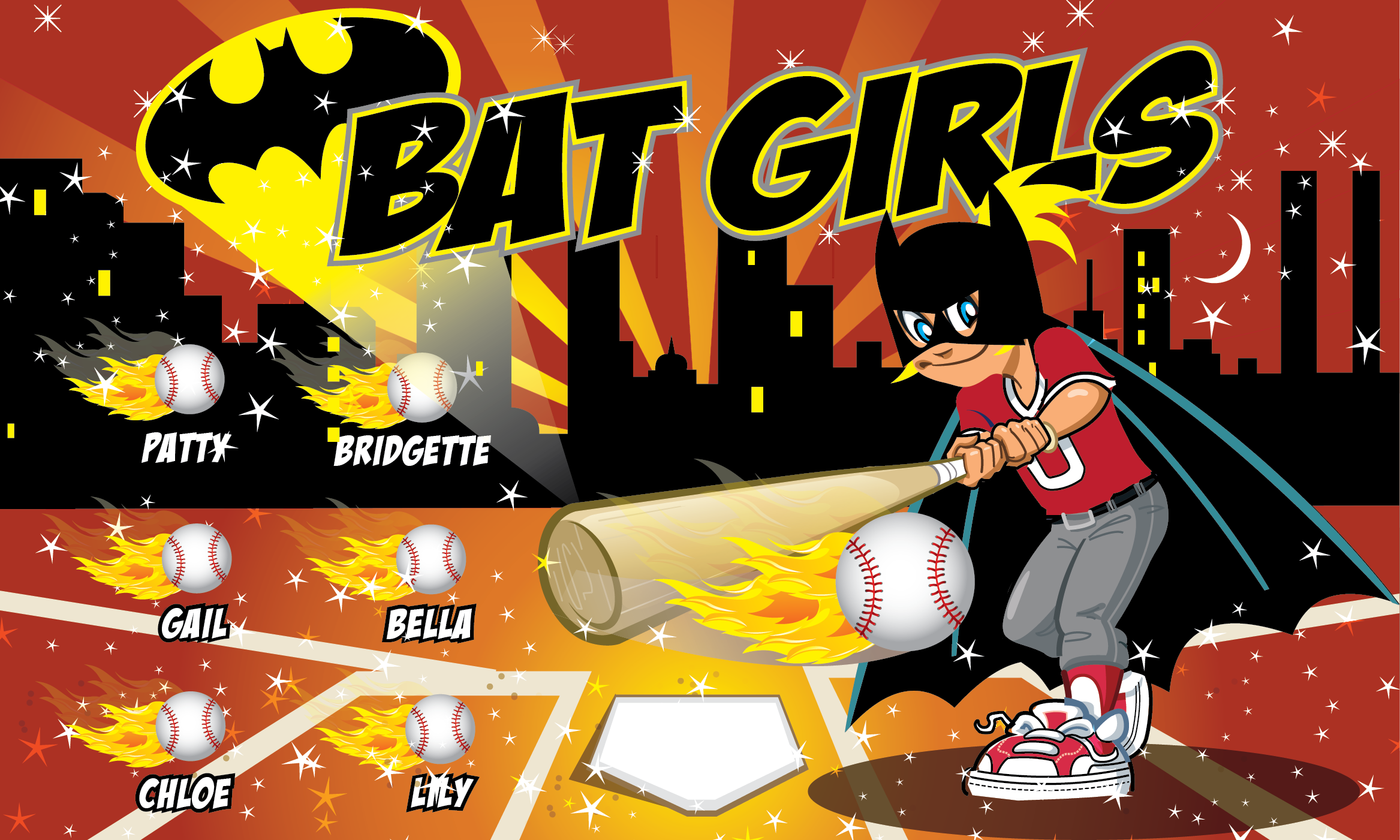 Bat Girls Custom Vinyl Banner