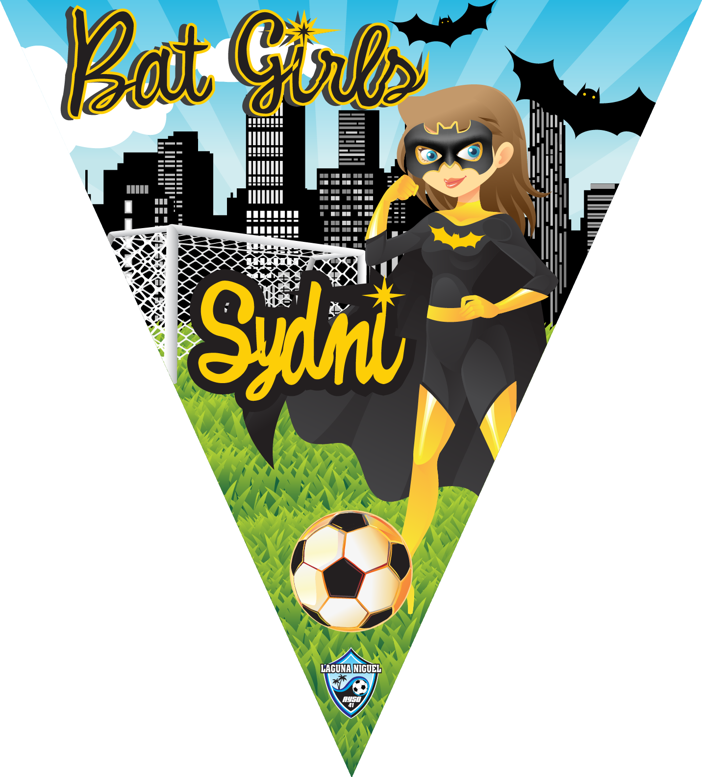 Bat Girls Triangle Individual Team Pennant