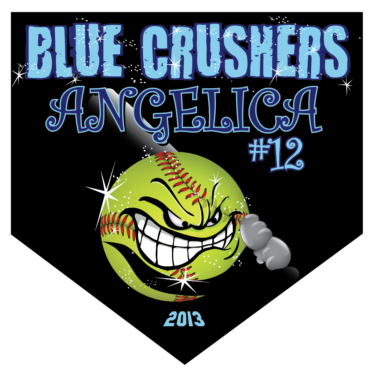 Blue Crushers Home Plate Individual Team Pennant