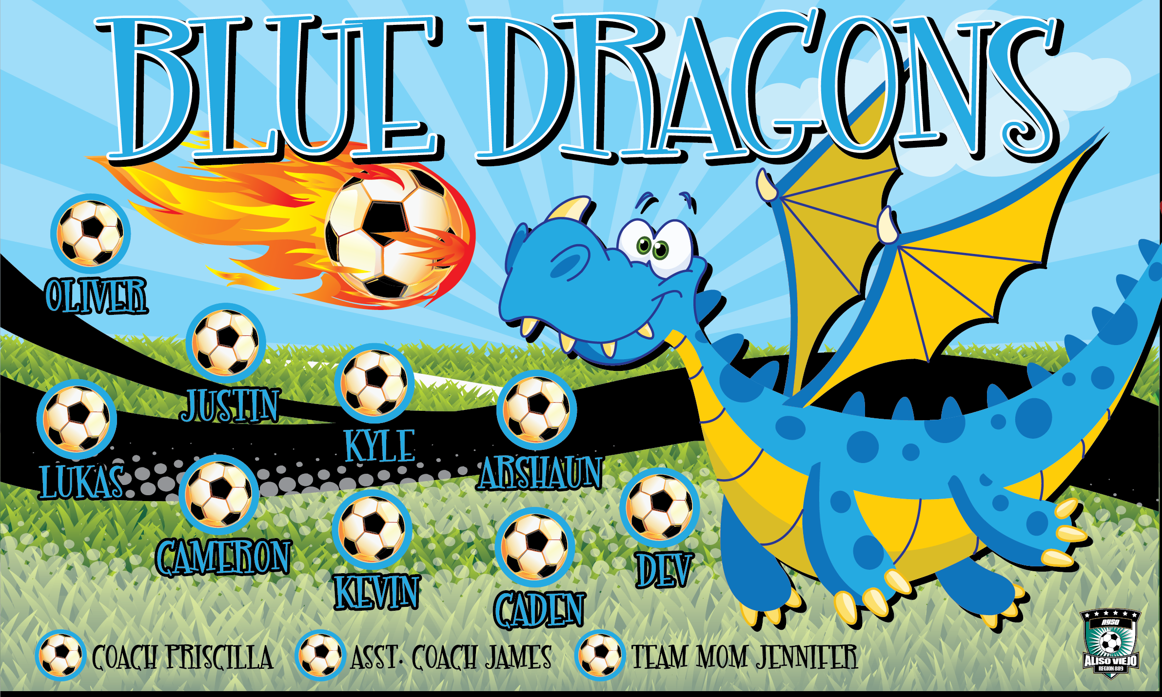 Blue Dragons 1 Custom Vinyl Banner