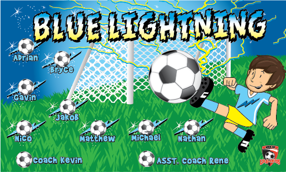 Blue Lightning 1 Custom Vinyl Banner