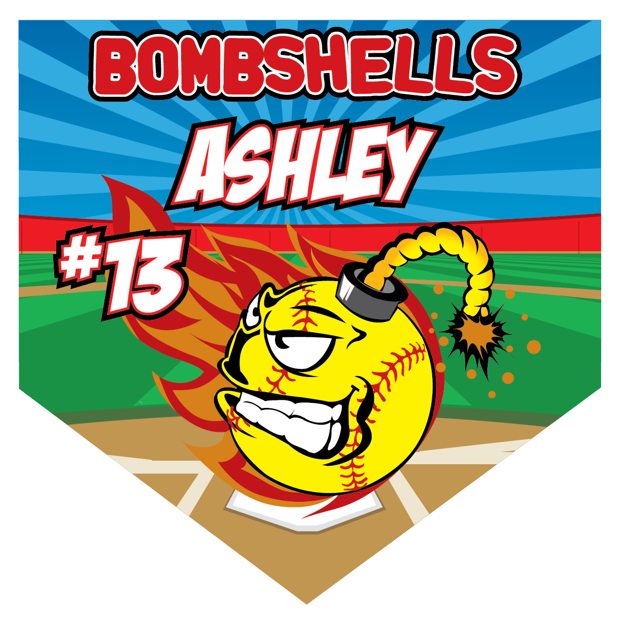Bombshells Home Plate Individual Team Pennant