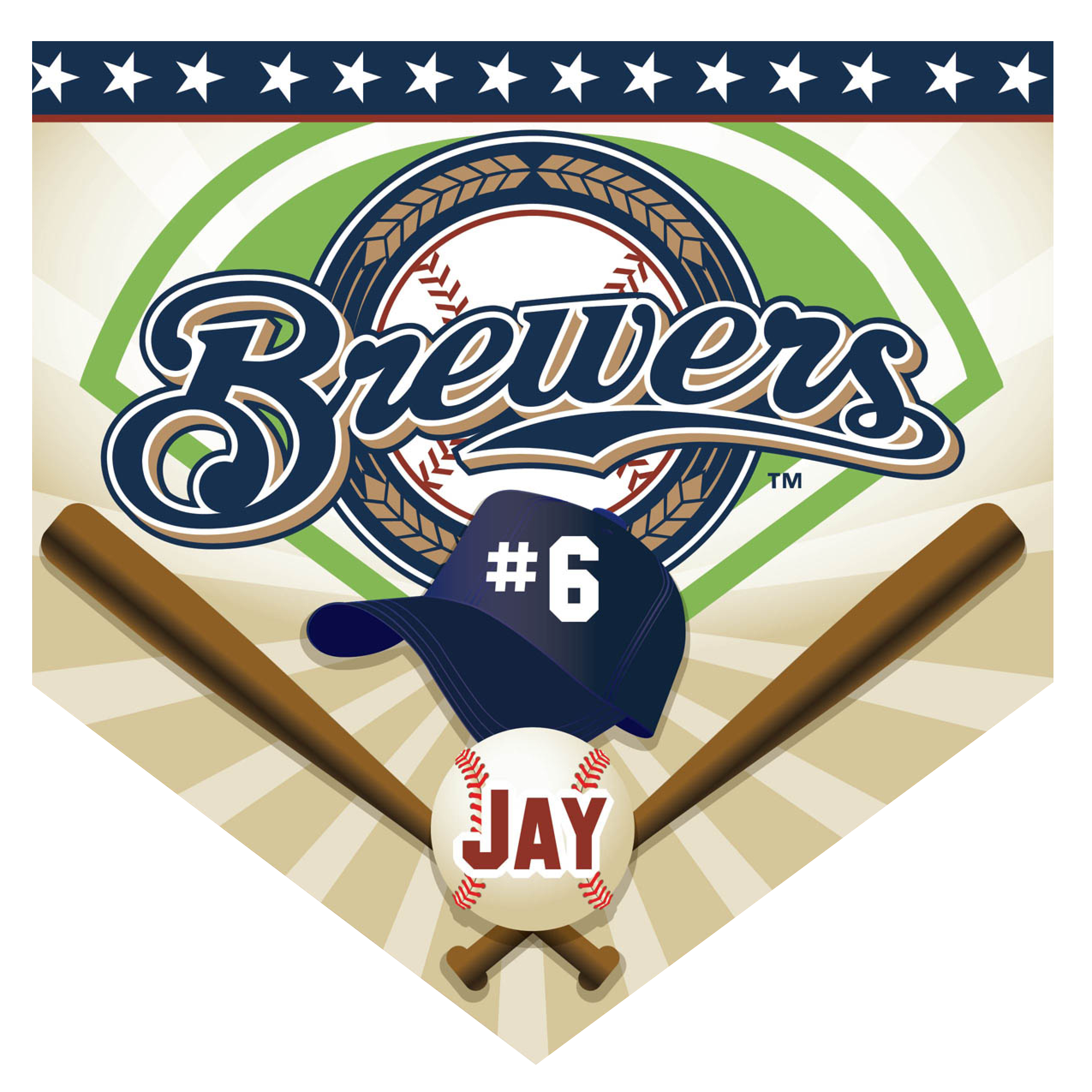 Brewers Home Plate Individual Team Pennant