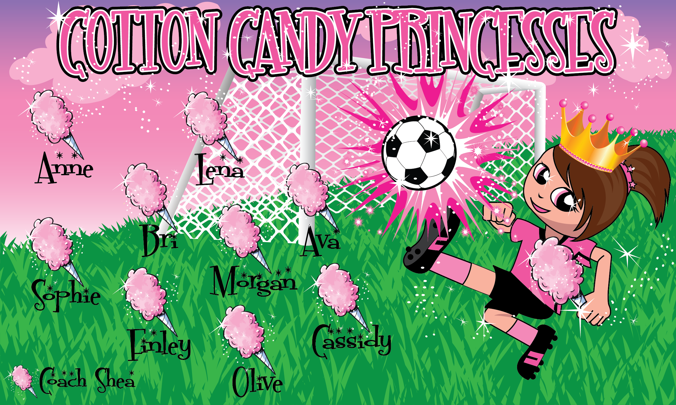 Cotton Candy Princesses Custom Vinyl Banner