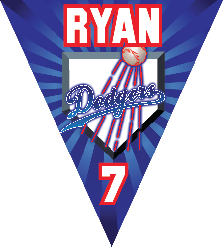 Dodgers Triangle Individual Team Pennant
