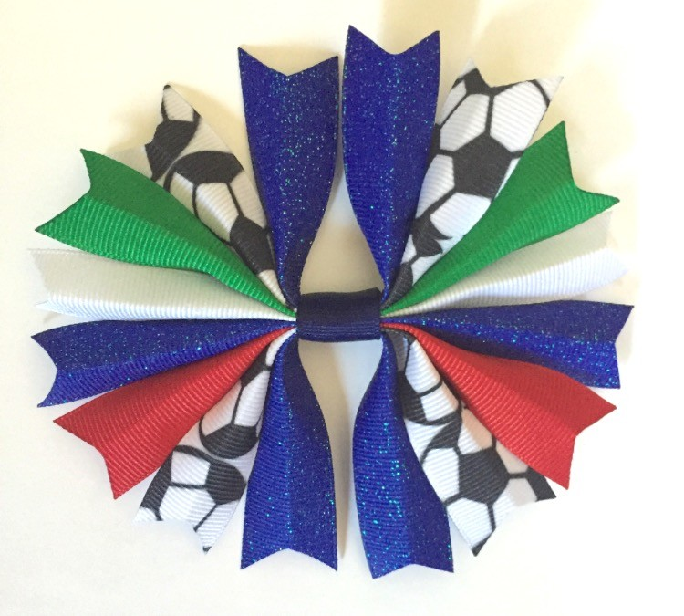 Royal Blue Green and Red Ponytail Holder