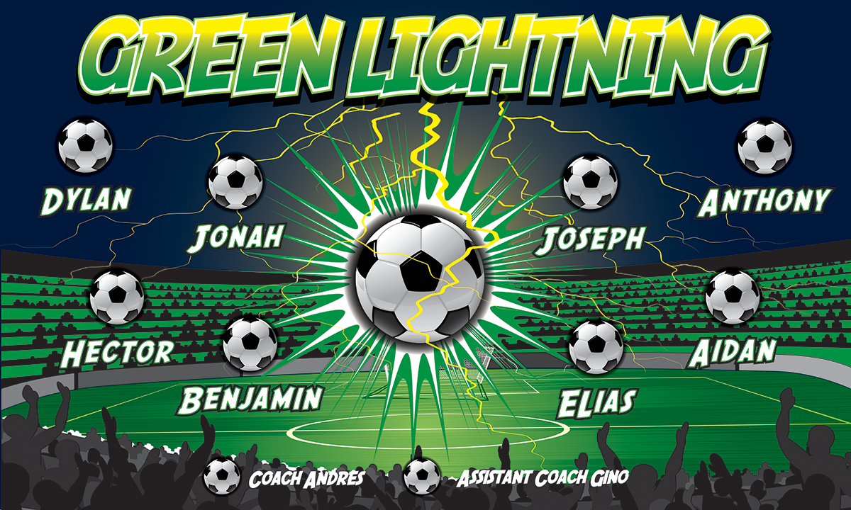 Green Lightning 2 Custom Vinyl Banner