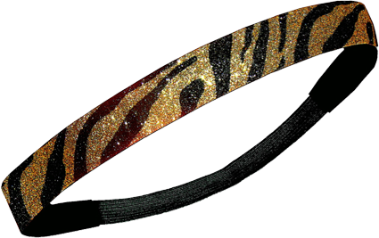 Custom Glitter Headband - Black & Gold Zebra