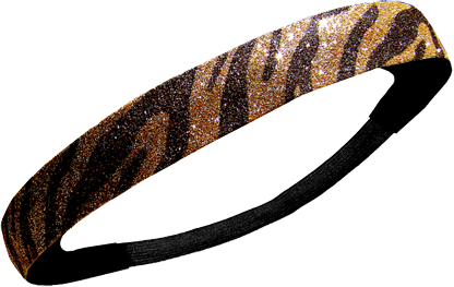 Custom Glitter Headband - Brown & Gold Zebra