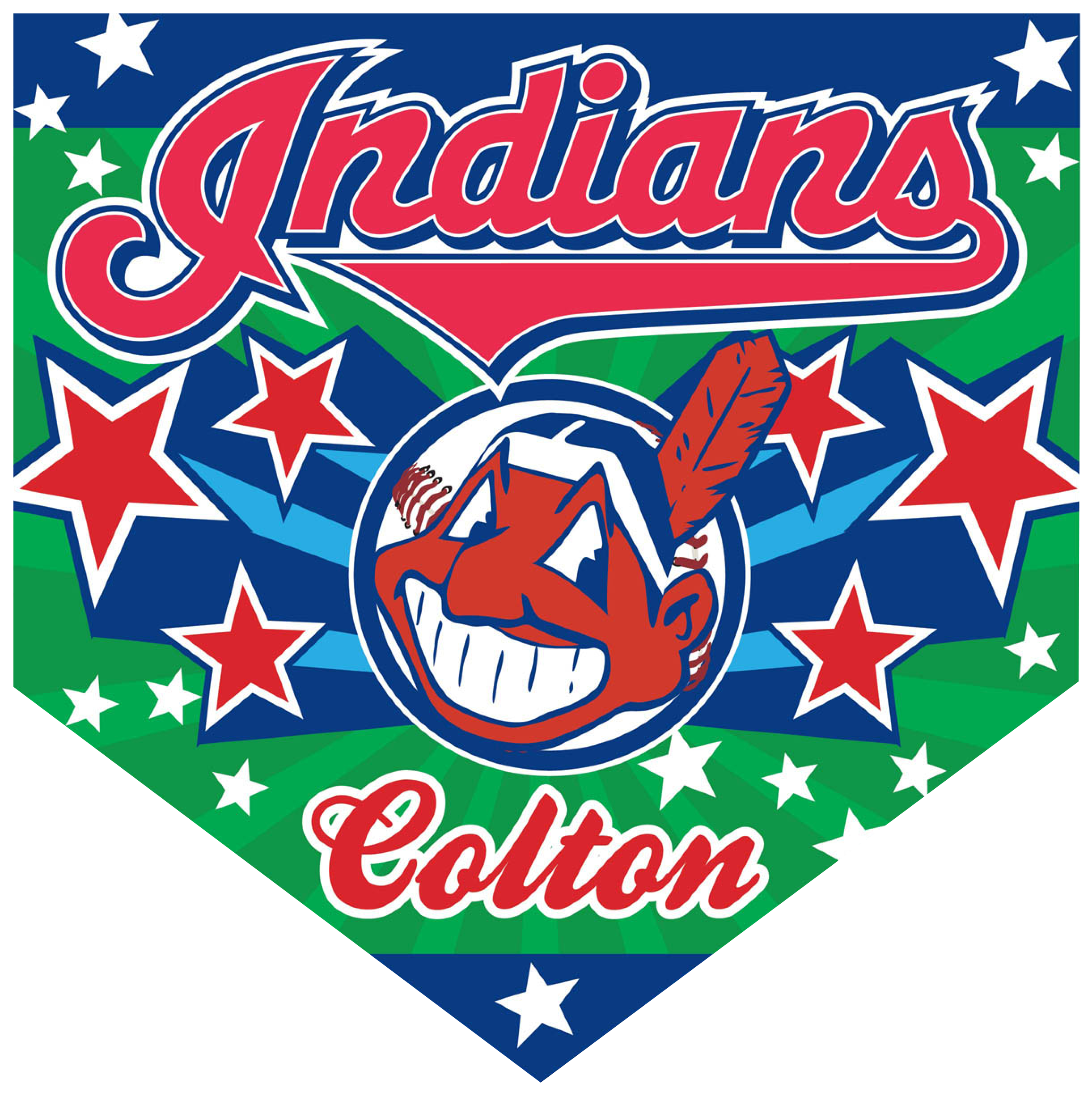 Indians Home Plate Individual Team Pennant