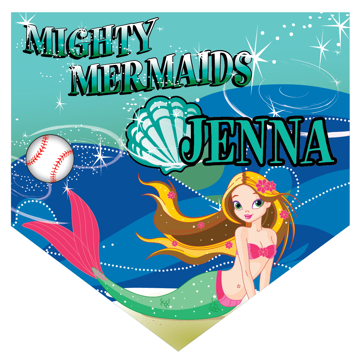 Mighty Mermaids Home Plate Individual Team Pennant