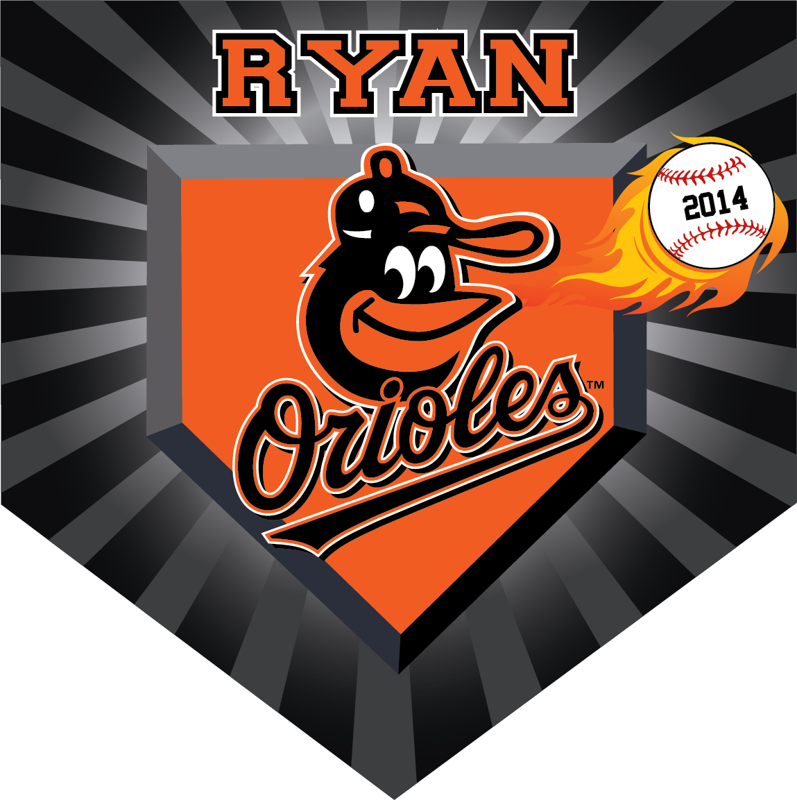 Orioles (Alternate) Custom Home Plate Banner