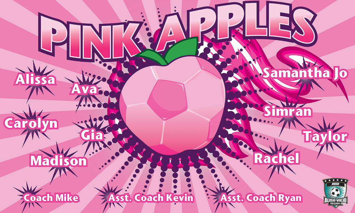 Pink Apples Custom Vinyl Banner
