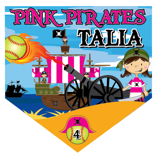 Pink Pirates Home Plate Individual Team Pennant
