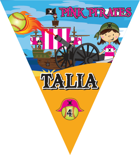 Pink Pirates Triangle Individual Team Pennant