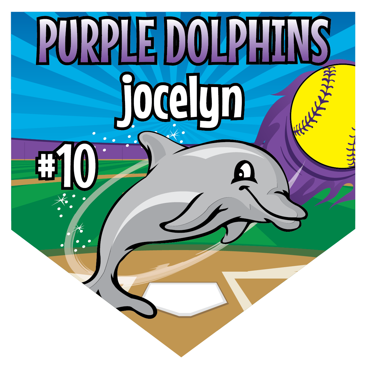 Purple Dolphins Home Plate Individual Team Pennant