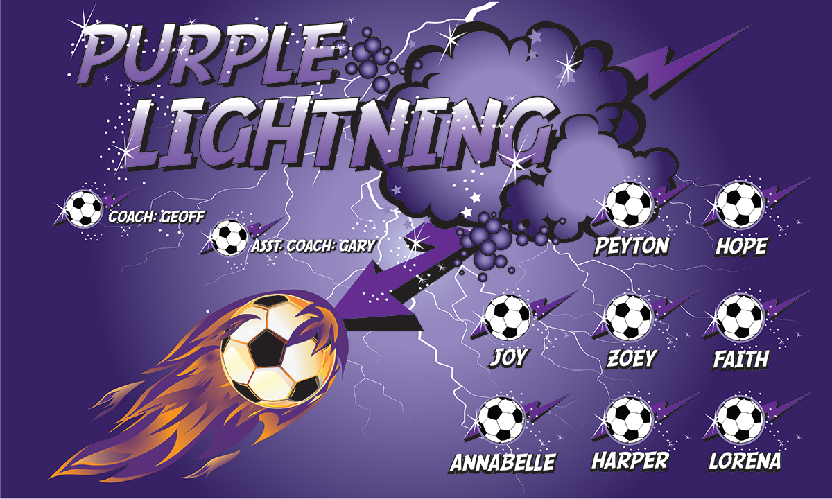 Purple Lightning 1 Custom Vinyl Banner