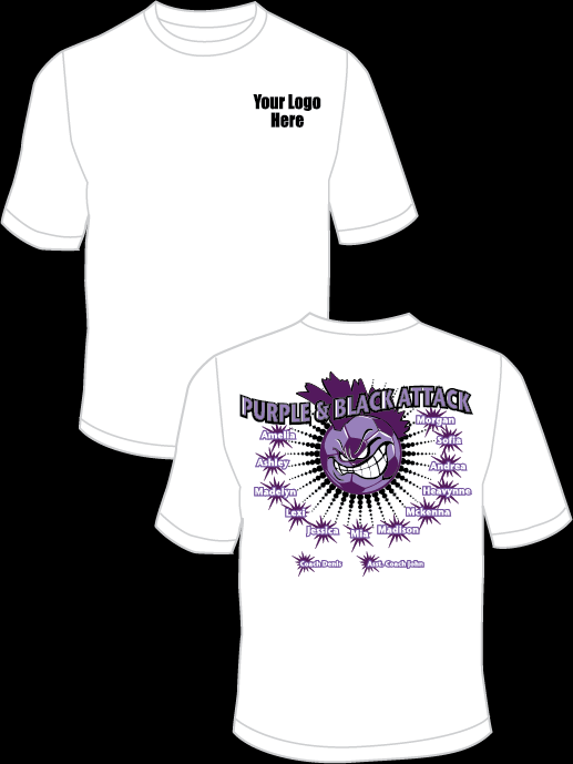 Purple and Black Attack Practice T-Shirt