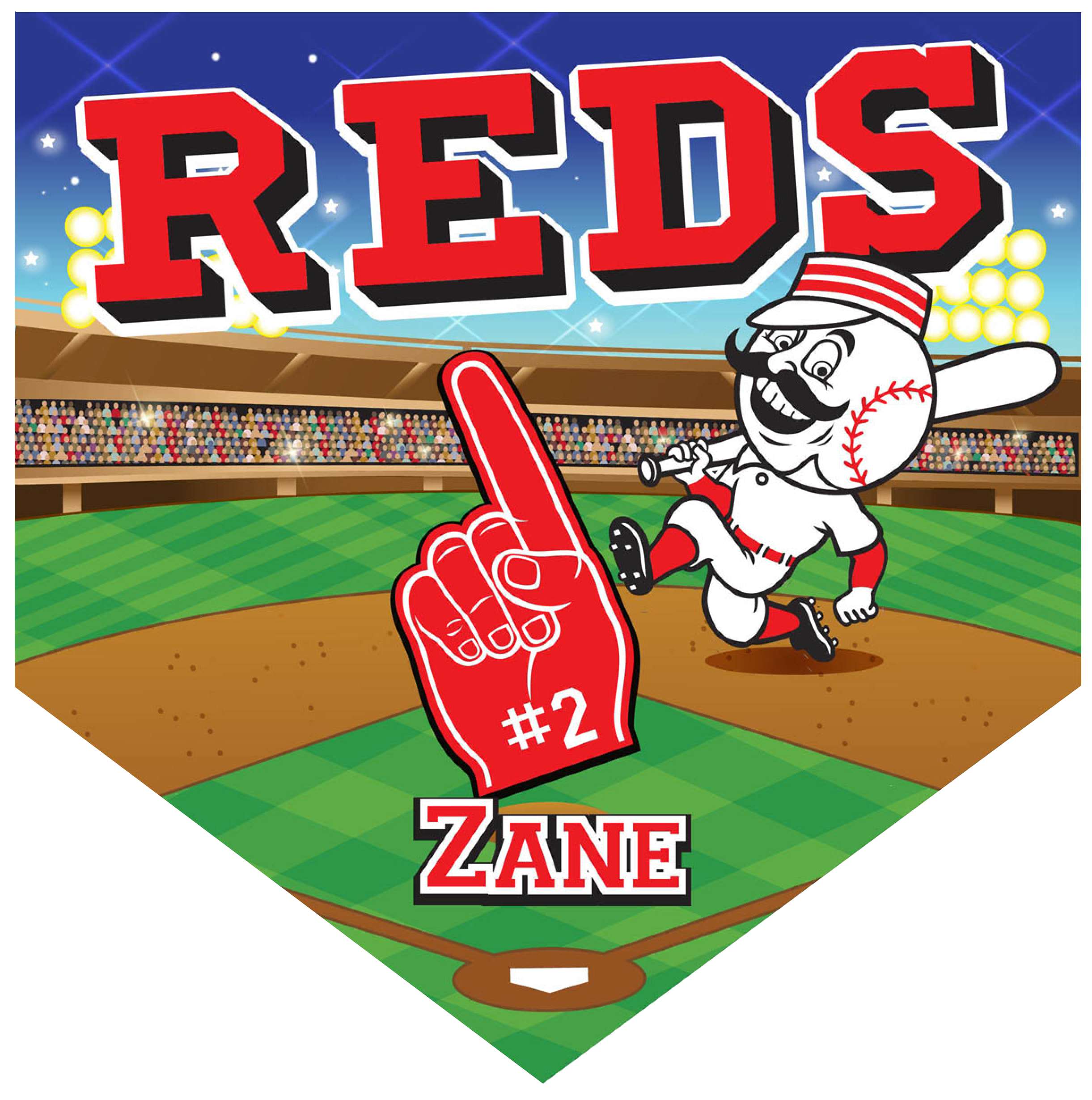 Reds Home Plate Individual Team Pennant