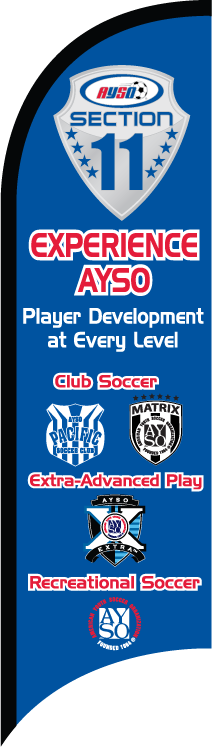 """AYSO Section 11 """"Experience AYSO"""" Custom Double-Sided Team Wind Flag"""