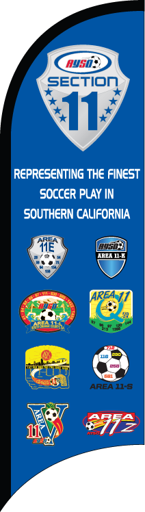 AYSO Section 11 Logos Custom Double-Sided Team Wind Flag