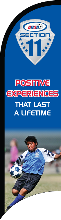 "AYSO Section 11 ""Positive Experiences"" Custom Double-Sided Team Wind Flag"