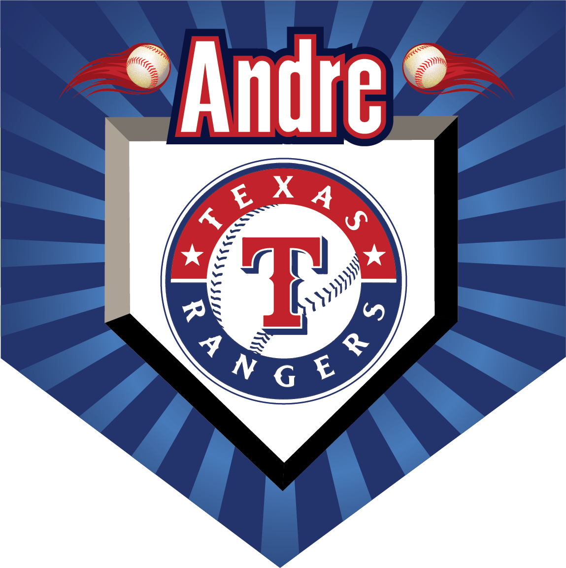 Texas Rangers Custom Home Plate Banner