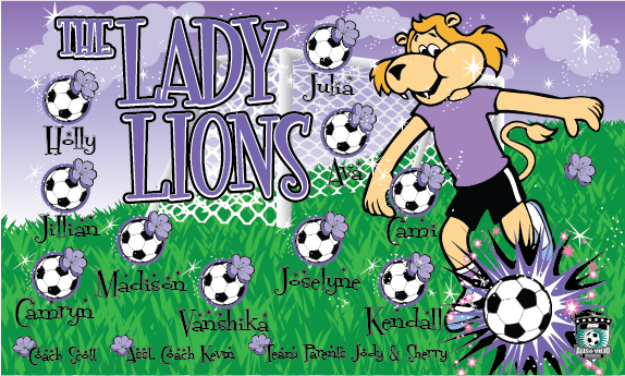 The Lady Lions Custom Vinyl Banner