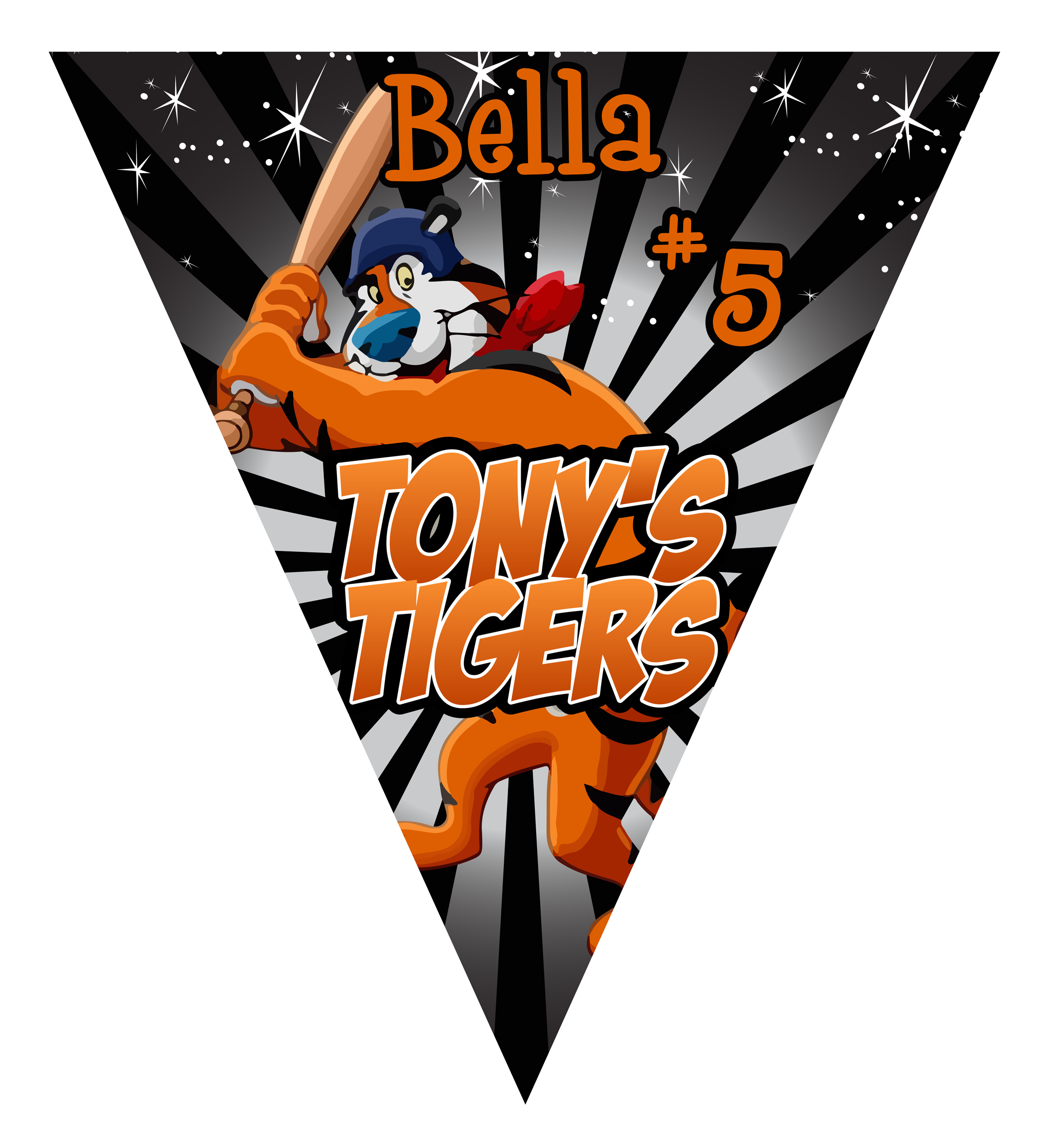 Tony's Tigers Triangle Individual Team Pennant