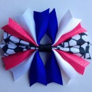 Royal Blue White and Bubblegum Ponytail Holder