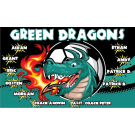 Green Dragons (Teal) Custom Vinyl Banner