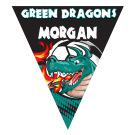 Green Dragons (Teal) Triangle Individual Team Pennant