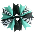 Zebra Black and Aqua Ponytail Holder