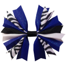 Zebra Black, White, and Royal Ponytail Holder