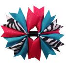 Zebra Turquoise and Hot Pink Ponytail Holder
